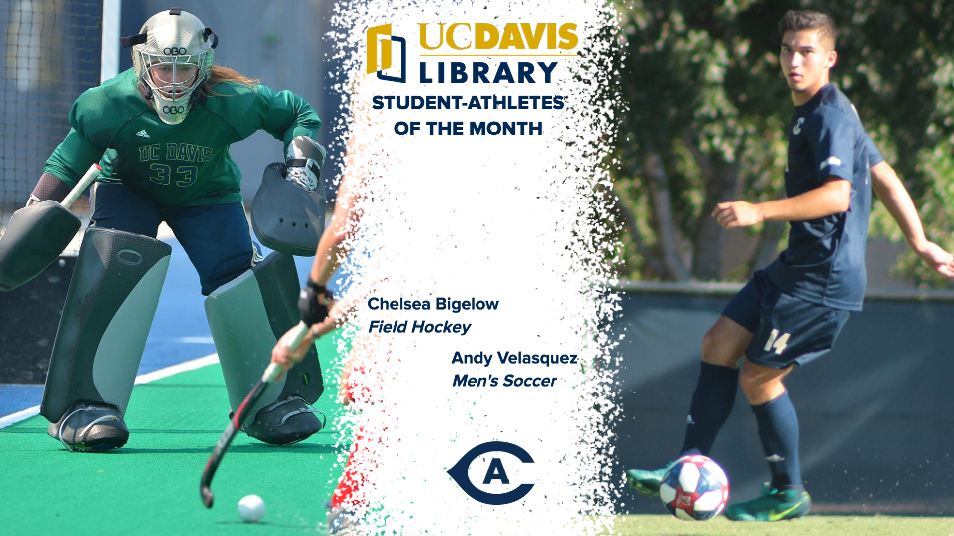 Chelsea Bigelow, Andy Velasquez named inaugural UC Davis Library Student-Athletes of the Month